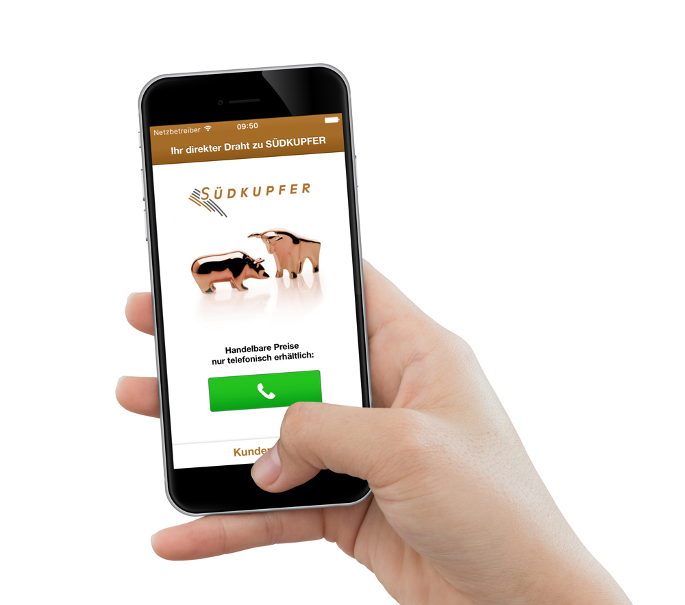 Südkupfer App zeigt die Kupfernotierungen und die Entwicklung des Kupferpreises