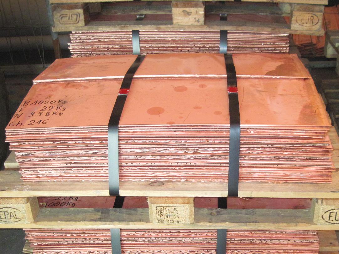Kupfer-Kathoden auf Paletten