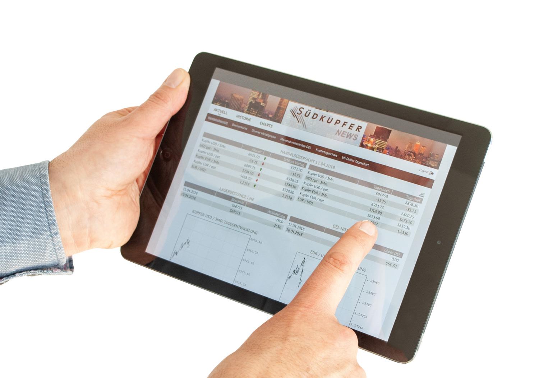 Südkupfer App Südkupfer-News auf Tablett, aktuelle Marktdaten Kupfer